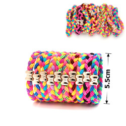 резинка для волос 11701 плетенка цветная с бантиком 1