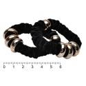 резинка для волос велюровая тонкая с кольцами 12542 чёрная