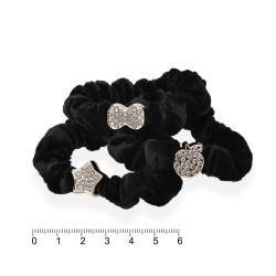 резинка для волос велюровая тонкая с фигурками чёрная 14230 1