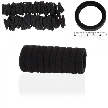 резинка для волос микрофибра rkr5.1 чёрная в пакете 15179 - бижутерия оптом Arkos.