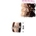 резинка для волос микрофибра ассорти 15731 коричневая на планшетке
