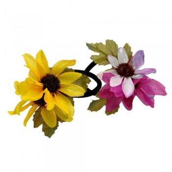 резинка для волос ft 5868 цветок двойной тканевый - бижутерия оптом Arkos.