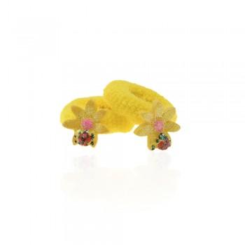 детская резинка для волос k01 852 цветок с божьей коровкой - бижутерия оптом Arkos.