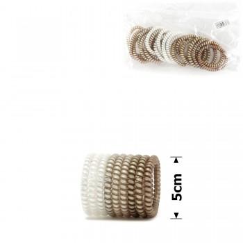 резинка-пружинка для волос Ø50mm тонкая матовая перламутровая 14905 - бижутерия оптом Arkos.