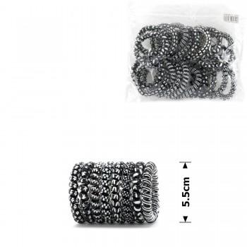 резинка-пружинка для волос Ø55mm глянцевая чёрно-белая 14943 - бижутерия оптом Arkos.