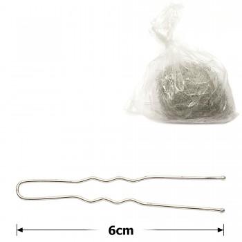 шпильки для волос серебристые 6см (2000шт) - бижутерия оптом Arkos.