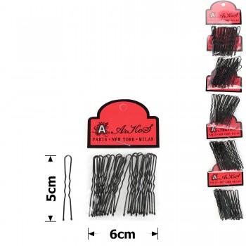 шпильки для волос на ленте 5см чёрные (5 пакетов по 20шт) 15753 - бижутерия оптом Arkos.
