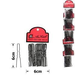шпильки для волос на ленте 6см чёрные (5 пакетов по 20шт) 15754 1