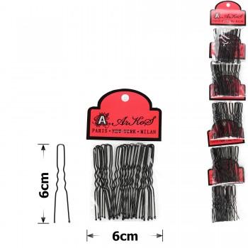 шпильки для волос на ленте 6см чёрные (5 пакетов по 20шт) 15754 - бижутерия оптом Arkos.