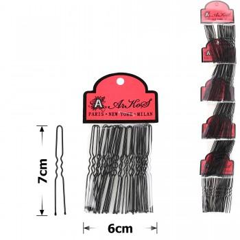 шпильки для волос на ленте 7см чёрные (5 пакетов по 20шт) 15755 - бижутерия оптом Arkos.