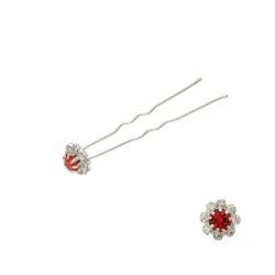 шпильки для волос цветок из страз красного цвета (24шт) 3028 1