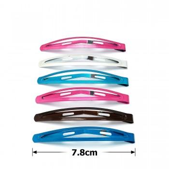 заколка тик-так для волос 19-11993 глянцевая 7.8см цветная - бижутерия оптом Arkos.