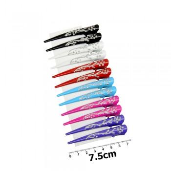 заколка-уточка для волос в виде стрелы — 7.5cm 12162 с узорами из присыпки - бижутерия оптом Arkos.