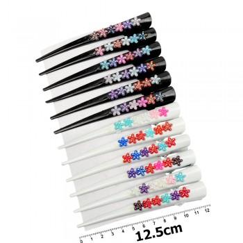 заколка-уточка для волос в виде стрелы — 12.5cm 12170 с пластиковыми цветками - бижутерия оптом Arkos.