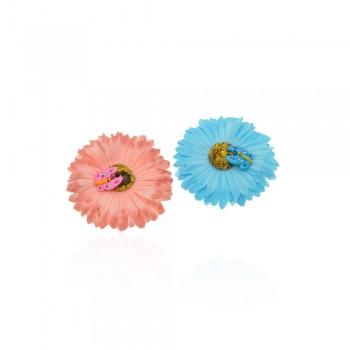 заколка уточка f2 4686 ромашка цветная с бабочкой - бижутерия оптом Arkos.