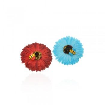 заколка уточка f2 4687 ромашка цветная с пчелой - бижутерия оптом Arkos.