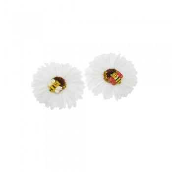 заколка уточка f2 4689 ромашка белая с пчелкой - бижутерия оптом Arkos.
