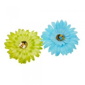 заколка уточка f2 4770 ромашка цветная с пчелкой - бижутерия оптом Arkos.