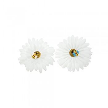 заколка уточка f2 4771 ромашка белая с пчелкой - бижутерия оптом Arkos.