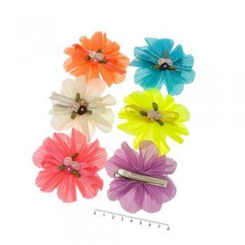 заколка уточка для волос детская с бантиком и цветочками 9030 - бижутерия оптом Arkos.